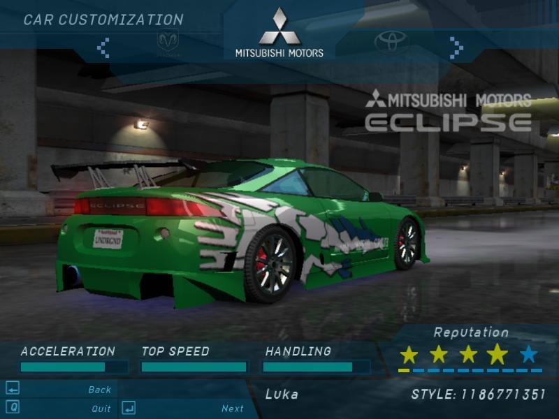Mitsubishi Eclipse Gsx Need For Speed Underground Rides